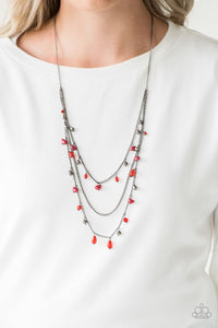 Paparazzi Pebble Beach Beauty - Red - Pearly Pebbles - Gunmetal Chains Necklace & Earrings - Lauren's Bling $5.00 Paparazzi Jewelry Boutique