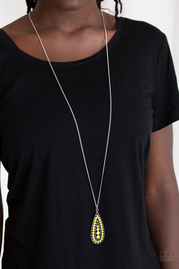 Paparazzi Tiki Tease - Yellow - Sunny Bubbly Beads - Silver Teardrop Necklace and Earrings - Lauren's Bling $5.00 Paparazzi Jewelry Boutique