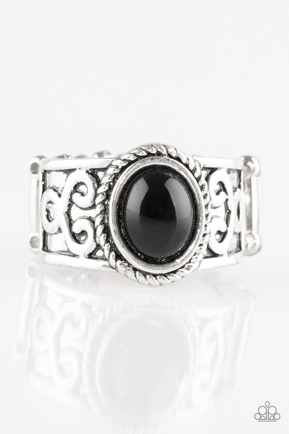 Paparazzi Totally Tidal - Black Bead - Silver Ring - Lauren's Bling $5.00 Paparazzi Jewelry Boutique
