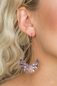 Paparazzi Trading Post Trending - Copper - Tribal Inspired Triangular Bar Earrings - Lauren's Bling $5.00 Paparazzi Jewelry Boutique