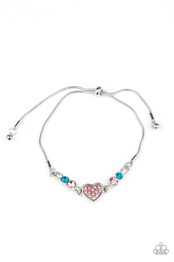Paparazzi Big-Hearted Beam - Multi Rhinestones - Silver Heart - Bracelet - Lauren's Bling $5.00 Paparazzi Jewelry Boutique