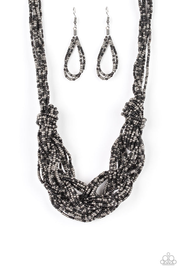 Paparazzi City Catwalk - Black and Gunmetal Seed Beads - Necklace and matching Earrings