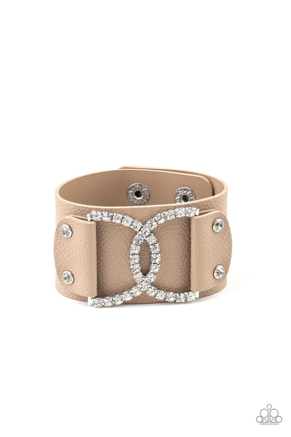 Paparazzi Couture Culture - Brown - White Rhinestones - Leather Band - Bracelet