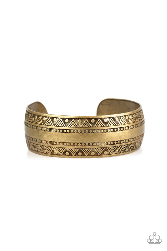 Paparazzi Desert Peaks - Brass - Studded and Embossed - Cuff Bracelet - Lauren's Bling $5.00 Paparazzi Jewelry Boutique