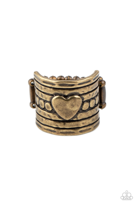Paparazzi Dont Lose Heart - Brass - Heart Ring