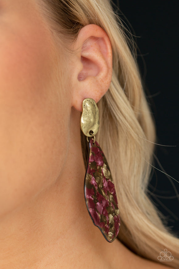 Paparazzi Fish Out of Water - Brass - Faux Marble Acrylic - Post Earrings