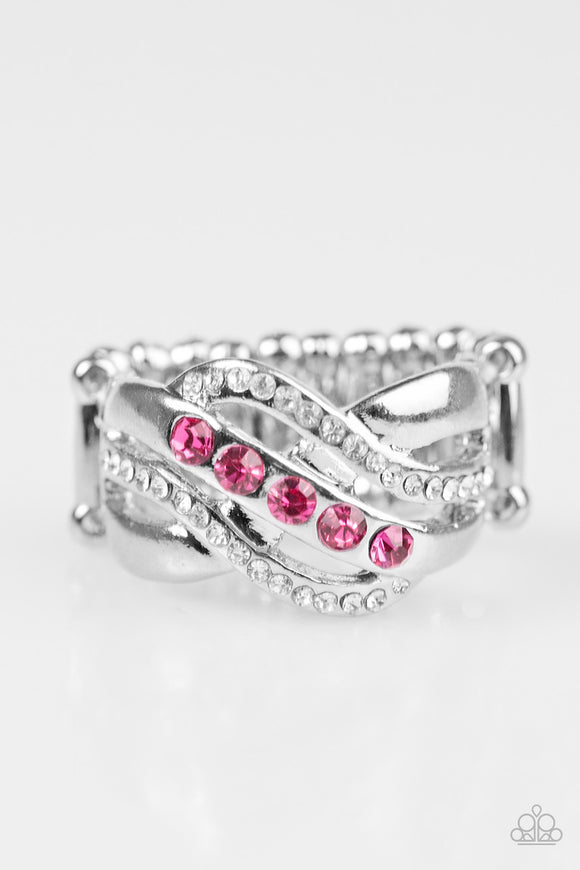 Paparazzi Flirting With Sparkle - Pink Rhinestones - Ring