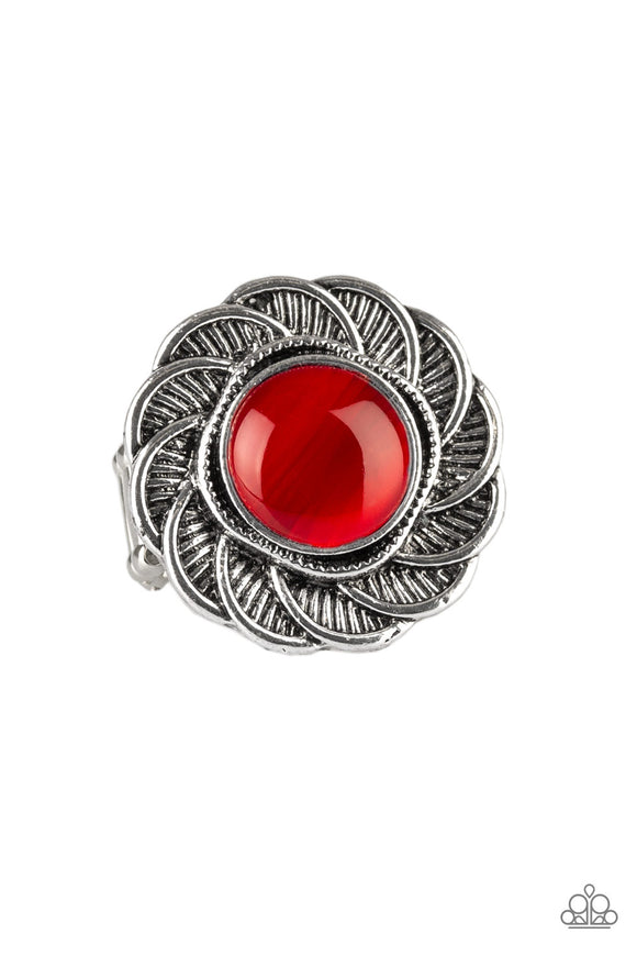 Paparazzi Gardenia Glow - Red Moonstone - Silver Petal Ring