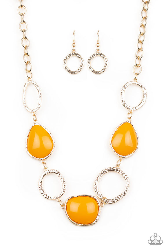Paparazzi Haute Heirloom - Orange Beaded Frames - Hammered Shimmery Textures - Gold Necklace and matching Earrings