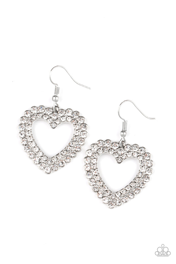 Paparazzi High School Sweethearts - White - Glittery Rhinestones - Heart Frame - Earrings