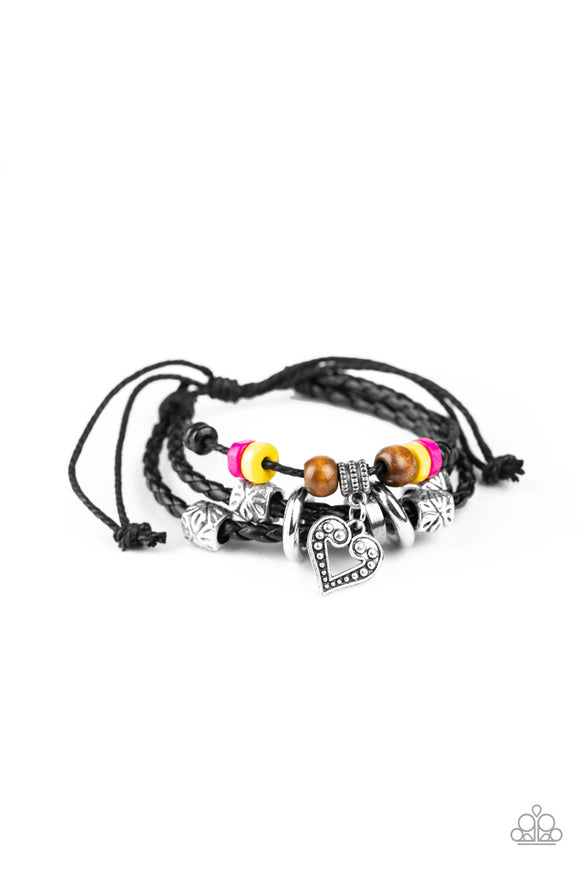 Paparazzi Highlands Heart - Multi - Ornate Silver Beads, Wooden Beads - Heart Charm - Sliding Knot Bracelet - Lauren's Bling $5.00 Paparazzi Jewelry Boutique