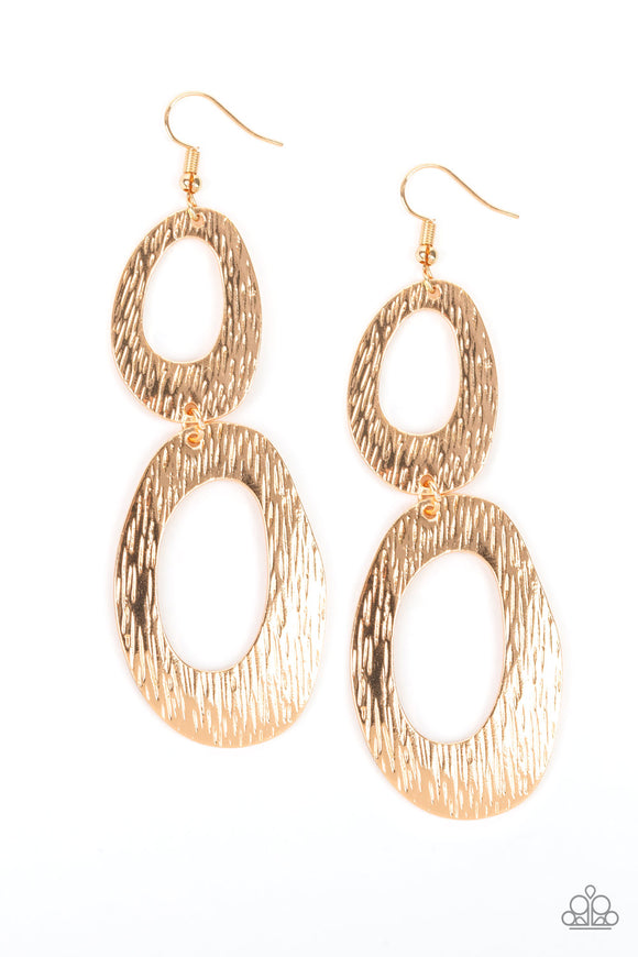 Paparazzi Ive SHEEN It All - Gold - Asymmetrical Hoops - Earrings - Lauren's Bling $5.00 Paparazzi Jewelry Boutique