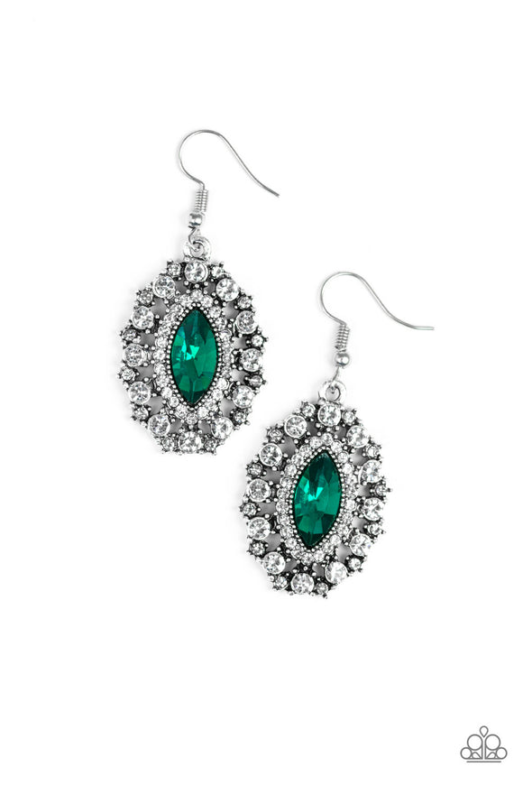 Paparazzi Long May She Reign - Green - Marquise Cut - Rhinestones - Earrings - Lauren's Bling $5.00 Paparazzi Jewelry Boutique
