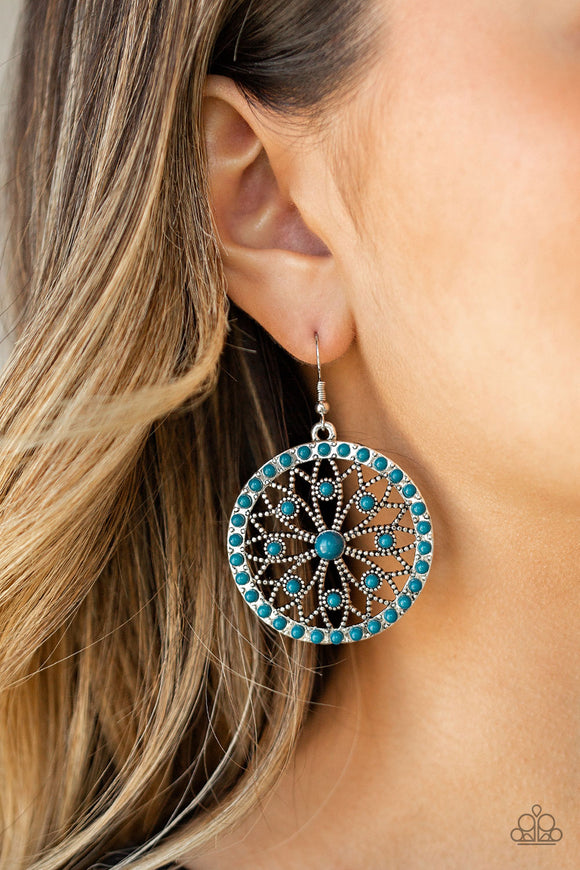 Paparazzi Merry Mandalas - Blue Beads - Silver Floral Filigree - Earrings - Lauren's Bling $5.00 Paparazzi Jewelry Boutique