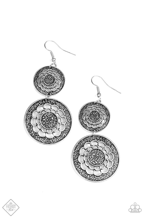 Paparazzi Merry Marigolds Silver - Discs Textured Cutouts - Earrings - Fashion Fix Exclusive September 2019