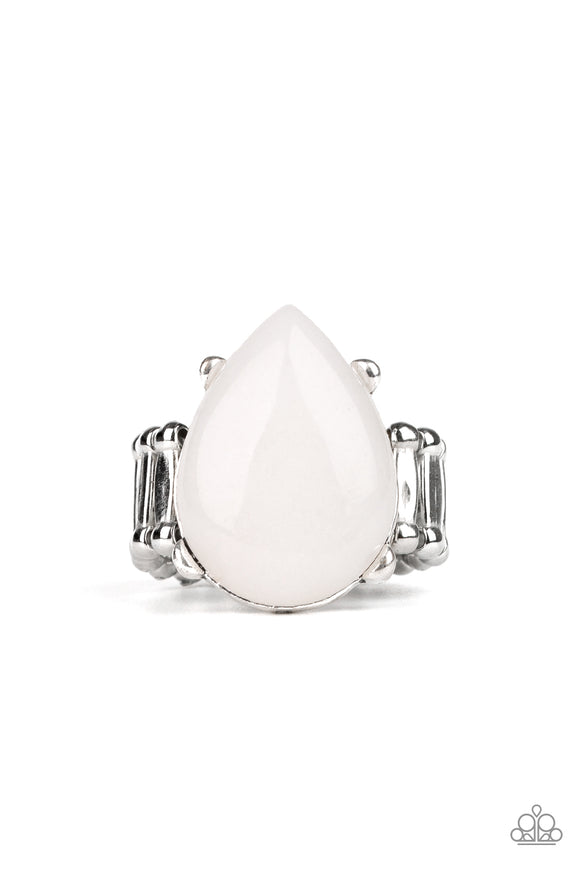 Paparazzi Mojave Minerals - White Stone - Teardrop - Silver Ring - Lauren's Bling $5.00 Paparazzi Jewelry Boutique