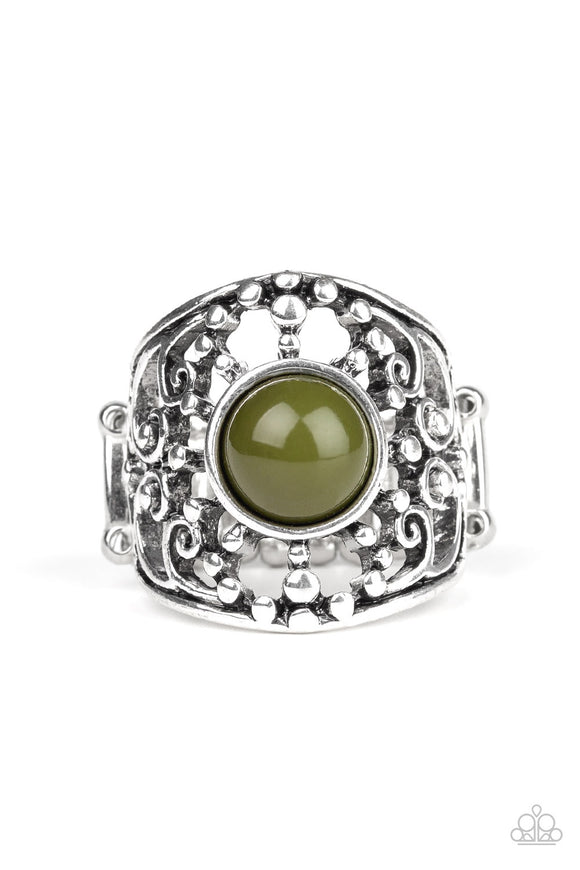 Paparazzi On An Adventure - Green Bead - Studded Silver Filigree - Ring - Lauren's Bling $5.00 Paparazzi Jewelry Boutique