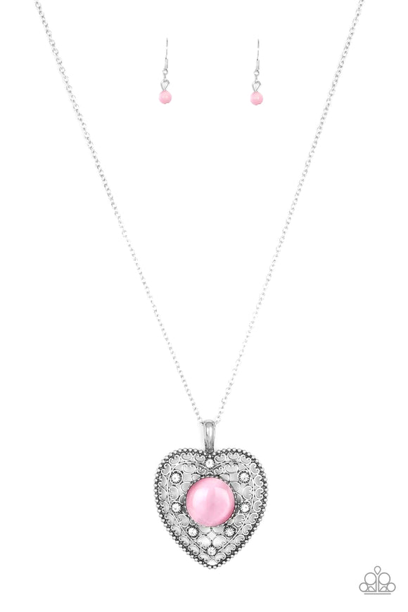 Paparazzi One Heart - Pink Moonstone - Rhinestones - Silver Necklace and matching Earrings