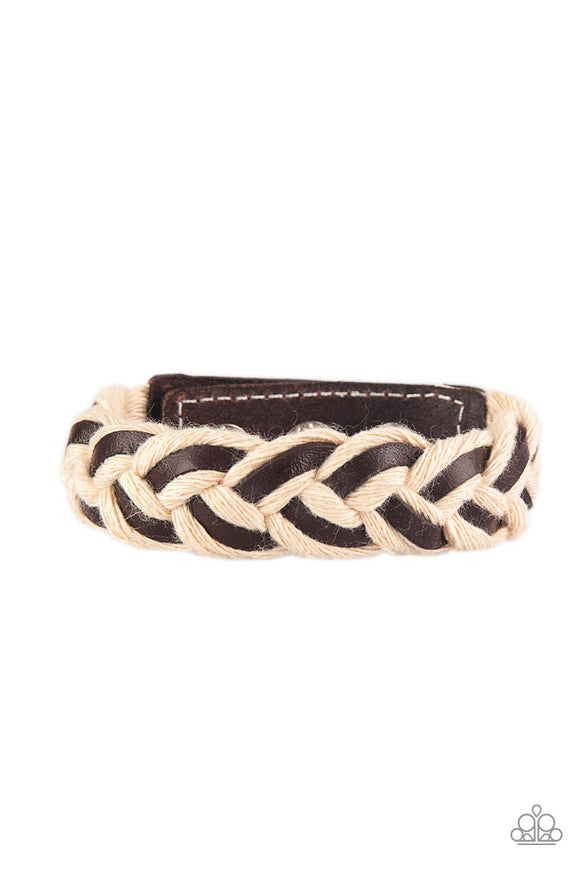Paparazzi Outback Outlaw - Brown - Leather Laces Weave w/White Rope - Urban Bracelet