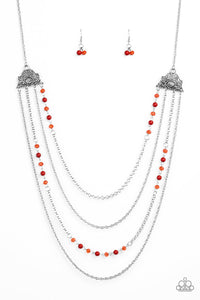 Paparazzi Pharaoh Finesse - Red Crystal Beads - Silver Chains - Necklace and matching Earrings - Lauren's Bling $5.00 Paparazzi Jewelry Boutique