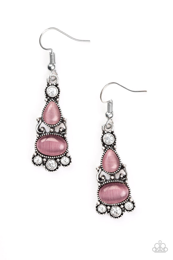 Paparazzi Push Your LUXE - Purple - Moonstone - White Rhinestones - Earrings