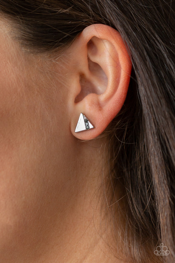 Paparazzi Pyramid Paradise - Silver - Hematite Rhinestones - Triangle Post Earrings - Lauren's Bling $5.00 Paparazzi Jewelry Boutique