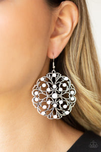Paparazzi Rainbow Dew - White Beads - Silver Hammered Filigree - Earrings - Lauren's Bling $5.00 Paparazzi Jewelry Boutique