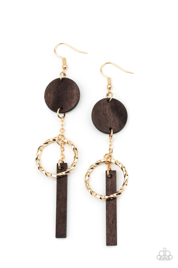 Paparazzi Raw Refinement - Brown - Earrings