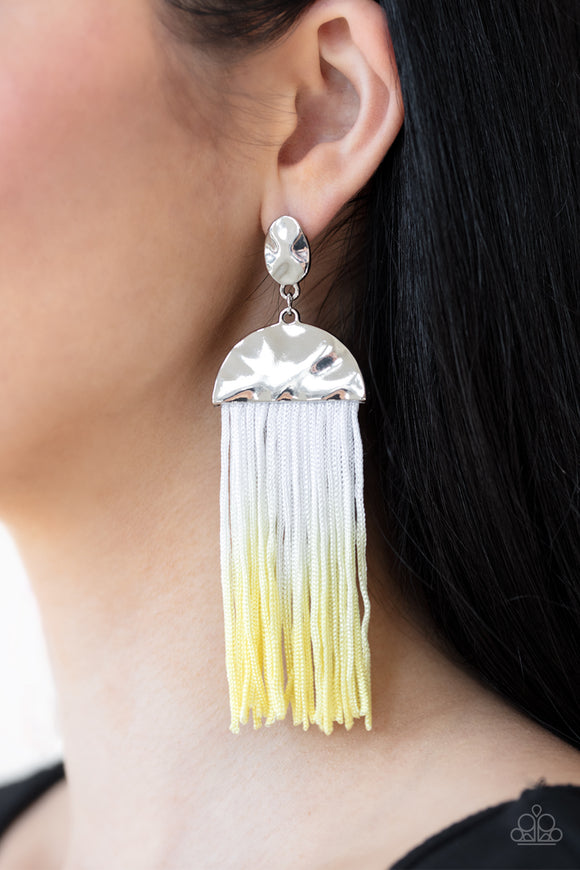 Pre-Order Ships 4/6 - Paparazzi Rope Them In - Yellow - Tassel / Fringe / Thread - Hammered Silver Frames - Earrings