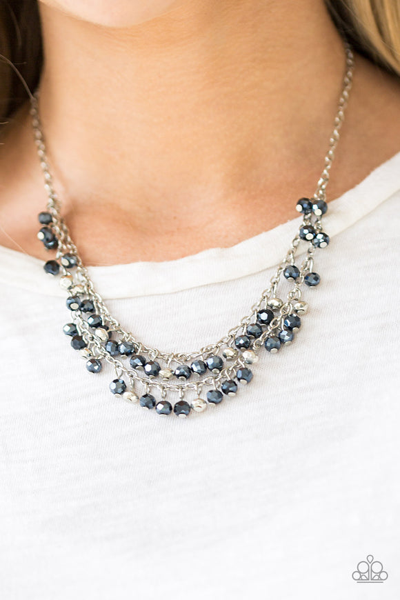 Paparazzi So In Season - Blue - Metallic Gems and Silver Beads - Silver Chains - Necklace & Earrings - Lauren's Bling $5.00 Paparazzi Jewelry Boutique