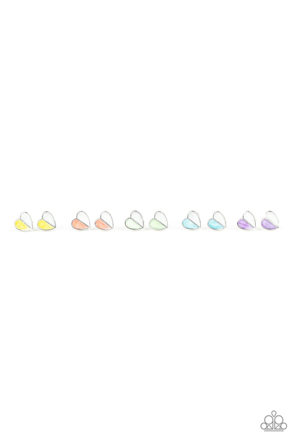 Paparazzi Starlet Shimmer Post Earrings - 10 - Heart Shaped - Yellow, Coral, Green, Blue and Purple