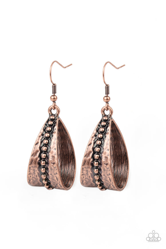 Paparazzi STIRRUP Some Trouble - Copper - Earrings