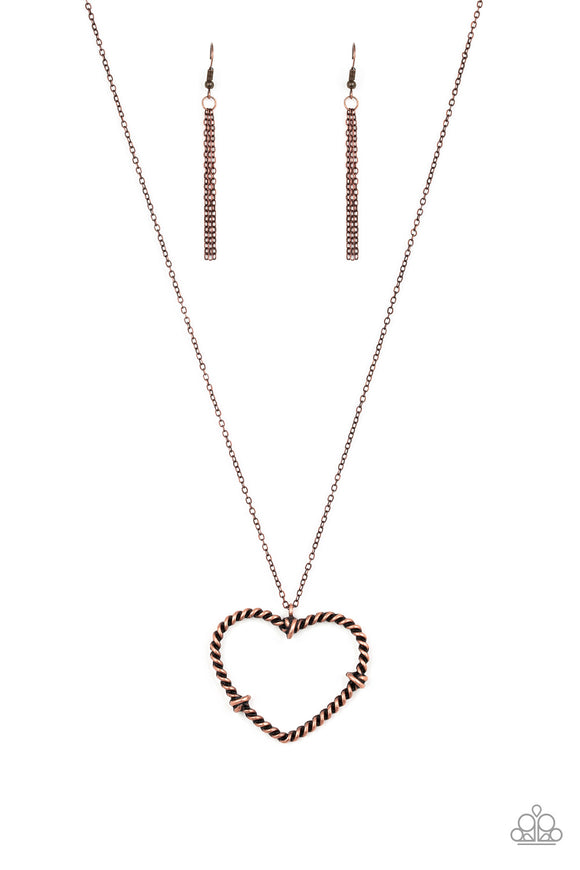 Paparazzi Straight From The Heart - Copper - Heart Pendant - Necklace and matching Earrings
