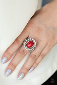 Paparazzi Sugar-Coated Splendor - Red - White Rhinestones - Silver Ring - Lauren's Bling $5.00 Paparazzi Jewelry Boutique