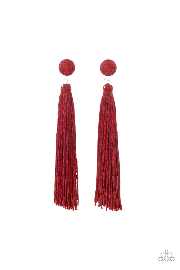 Paparazzi Tightrope Tassel - Red - Cording Thread / Tassel / Fringe - Post Earrings