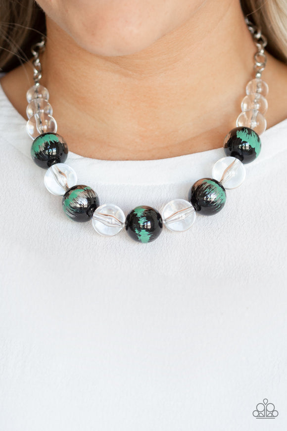 Paparazzi Torrid Tide - Green - Shiny Glassy Clear Beads - Necklace & Earrings - Lauren's Bling $5.00 Paparazzi Jewelry Boutique
