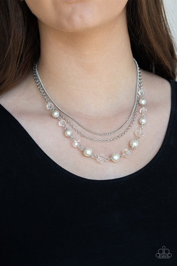 Paparazzi Tour de Demure - White - Sparkling Crystal Beads - Silver Chains - Necklace & Earrings