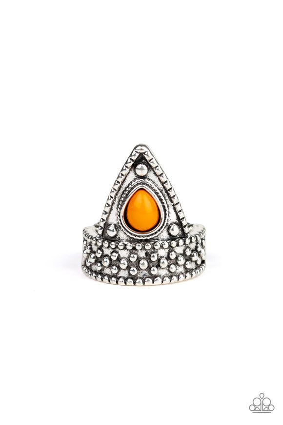 Paparazzi Tropical Escapade - Orange Bead - Silver Triangular Frame - Dainty Band Ring - Lauren's Bling $5.00 Paparazzi Jewelry Boutique