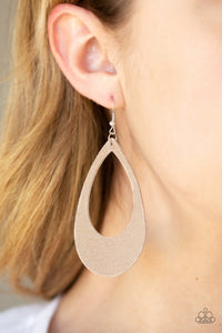 Paparazzi What a Natural - Brown - Textured Leather Teardrop - Earrings - Lauren's Bling $5.00 Paparazzi Jewelry Boutique