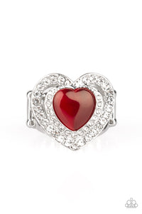 Paparazzi What The Heart Wants - Red - Cat's Eye Moonstone - Silver Heart Ring - Lauren's Bling $5.00 Paparazzi Jewelry Boutique