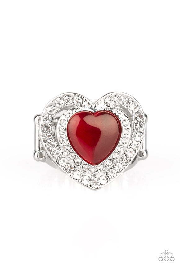 Paparazzi What The Heart Wants - Red - Cat's Eye Moonstone - Silver Heart Ring