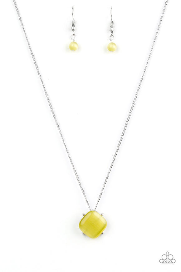 Paparazzi You GLOW Girl - Yellow Moonstone - Silver Necklace and matching Earrings