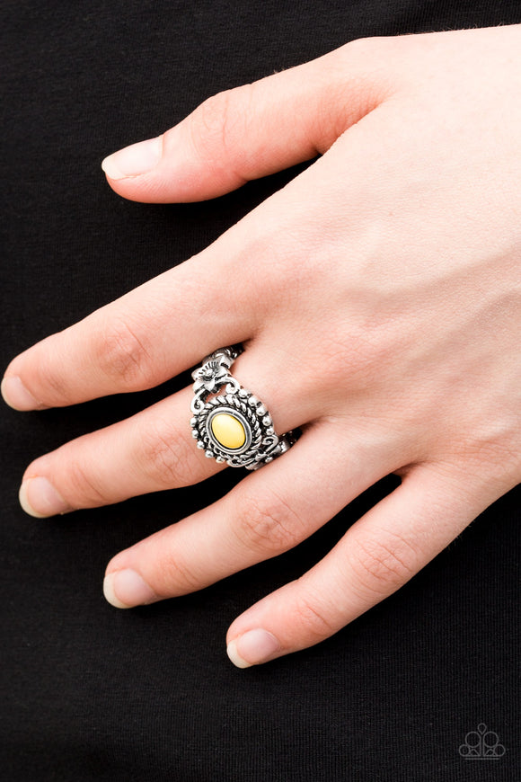 Paparazzi All Summer Long - Yellow Bead - Silver Ring - Lauren's Bling $5.00 Paparazzi Jewelry Boutique