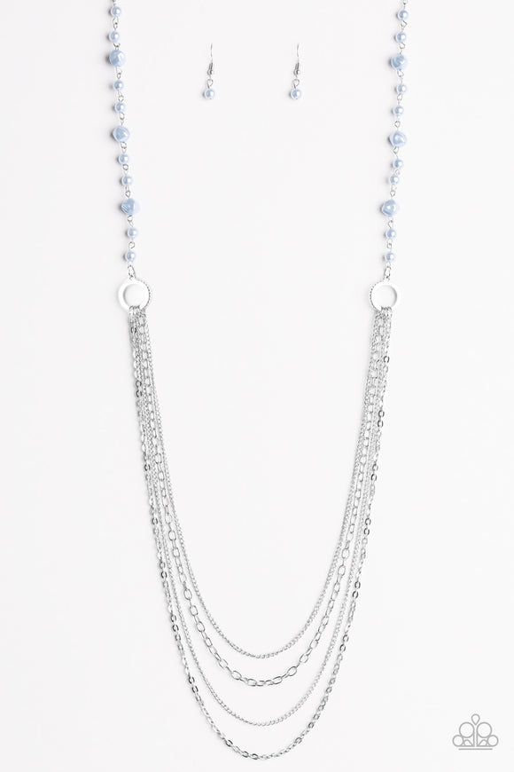 Paparazzi Contemporary Cadence - Blue Pearls - Silver Chains Necklace and matching Earrings - Lauren's Bling $5.00 Paparazzi Jewelry Boutique