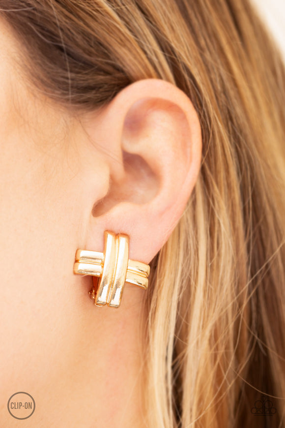 Paparazzi Couture Crossover - Gold - Clip On - Earrings - Lauren's Bling $5.00 Paparazzi Jewelry Boutique