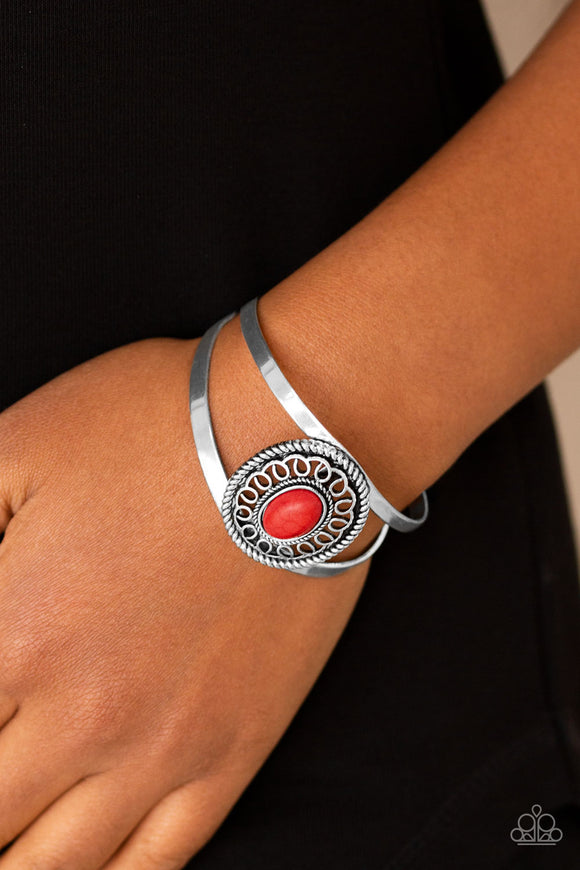 Paparazzi Deep In The TUMBLEWEEDS - Red Stone - Silver Cuff Bracelet - Lauren's Bling $5.00 Paparazzi Jewelry Boutique