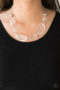 Paparazzi Luminous Luminary - White - Acrylic Necklace and matching Earrings - Lauren's Bling $5.00 Paparazzi Jewelry Boutique