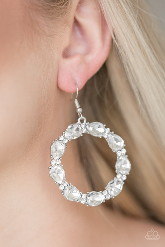 Paparazzi Accessories - Ring Around The Rhinestones - White - Teardrop Gems - Earrings