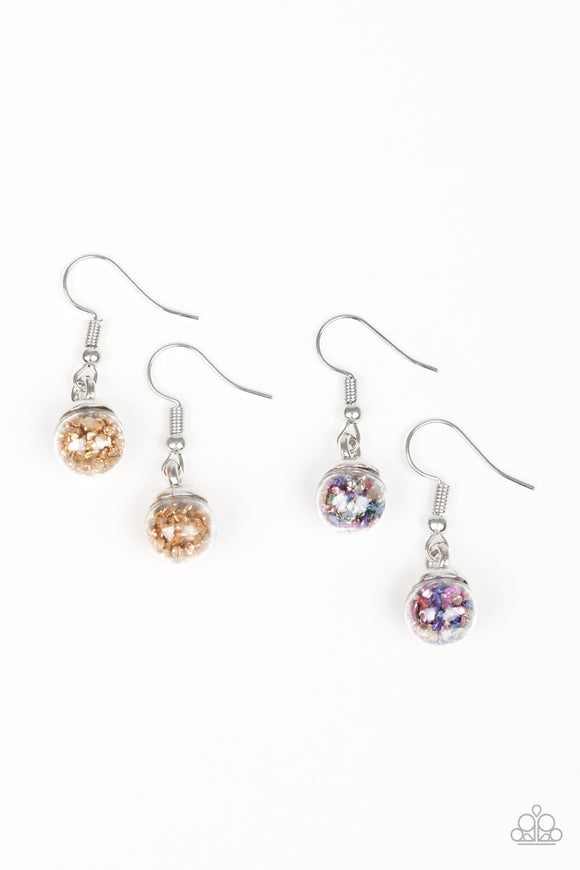 Paparazzi Starlet Shimmer Girls Earrings - 10 - Confetti - Gold, Multi, Pink