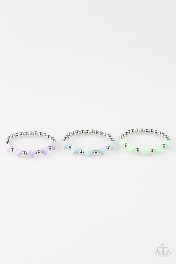 Paparazzi Starlet Shimmer Girls Bracelets - 10 - Silver Beads - Heart beads in Purple, Blue, Green and Yellow - Lauren's Bling $5.00 Paparazzi Jewelry Boutique